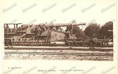 1915 circa CAMP DE MAILLY Piéce de 305 mm glissement ANIMATA *Cartolina FP VG