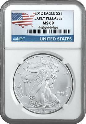 2012 AMERICAN SILVER EAGLE EARLY RELEASES NGC MS69 Flag Label