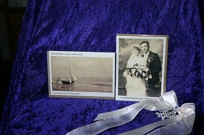 OLD FASHIONED Sepia photograph WEDDING CARD blank message UNUSUAL design FH-i