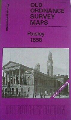 Old Ordnance Survey Map Paisley near Glasgow Scotland 1858 Sheet 12.02 New Map