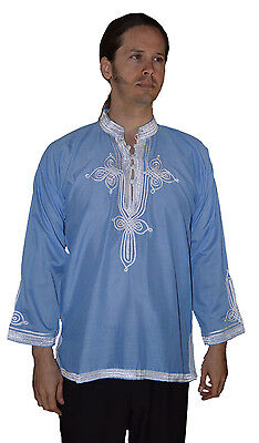 Moroccan Men Tunic Shirt Cafan Casual Handmade Embroidered Cotton MED/LG Blue