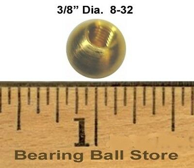 """25 3/8"""" threaded 8-32 brass balls drilled tapped knobs"""
