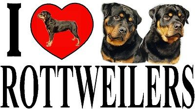 I LOVE ROTTWEILERS Dog Car Sticker By Starprint - Ft. the Rottweiler