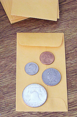 100 NEW SMALL 2 1/2 X 4 1/4 KRAFT COIN ENVELOPES-2.5 x 4.25 (coins not included)