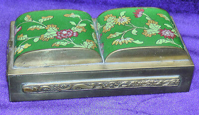 Antique Chinese Export Double-Domed Cloissone Top Trinket / Cigarette Brass Box