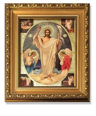 Catholic Orthodox Resurrection Of Christ Icon With Glass Crystals 8 1/4 Inch