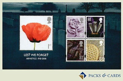 2008 Lest We Forget Armistice Miniature Sheet of Mint Stamps GB Mini Sheet No.59