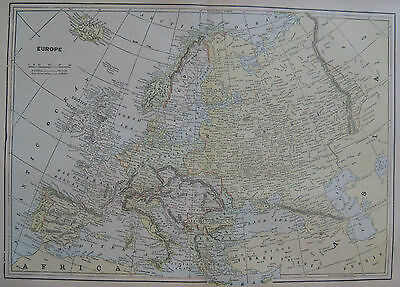 1893 Antique Map of EUROPE Beautiful Delicate COLORS
