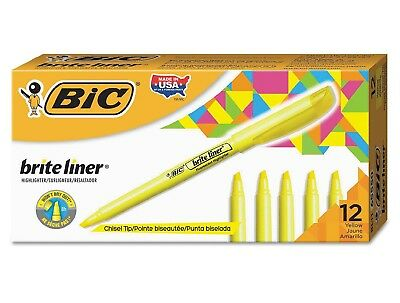 BIC Brite Liner Highlighter with Chisel Tip 12 per Pack (Fluorescent Yellow) NEW