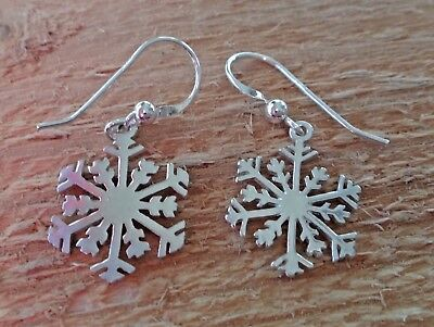 Sterling Silver Bright Detailed 15x20mm Snowflake Earrings on 15mm French Wires