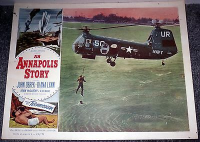 U.S. NAVY RESCUE HELICOPTER original1955 lobby card movie poster ANNAPOLIS STORY