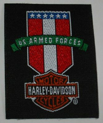 Lot/ 10 New Licensed 1994 Harley Davidson US Armed Forces Shield Iron On Patches