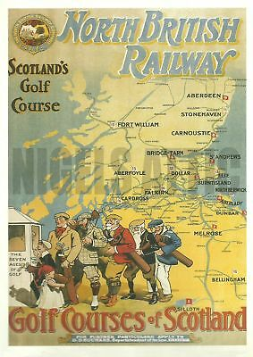 N B Railways  scotlands golf courses  vintage A4  poster