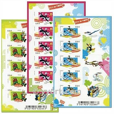 BLOCS-FEUILLETS AUTOADHESIF LOONEY TUNES FÊTE DU TIMBRE 2009 x 3 TITI-CHAT...