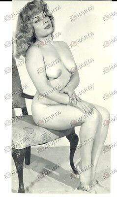1955 EROTICA VINTAGE Sexy lady completely naked on an antique chair *REAL PHOTO