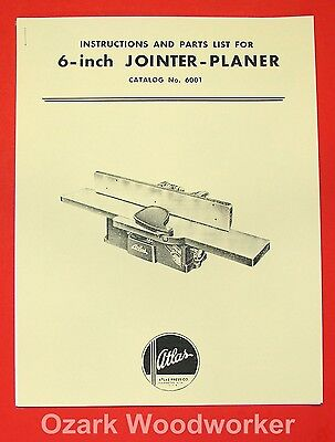 """Atlas 6"""" Jointer 6001 Instruction and Parts Manual 0025"""
