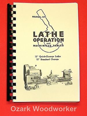 """Atlas Craftsman Manual of Lathe Operation Book for 12"""" Crossfeed Pull-Knob 0034"""