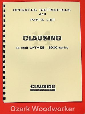 """CLAUSING 14"""" 6900 Series Lathe Operating & Parts Manual 0141"""