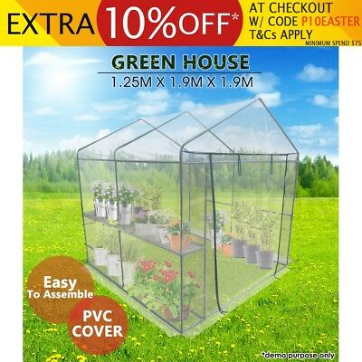 Garden Greenhouse Large Walk-In Green Hot House Shed Apex PVC Cover