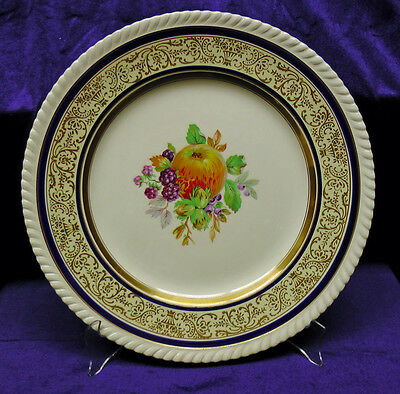 Vintage Johnson Brothers Old English Plate with Fruit - Gold and Cobalt Bands