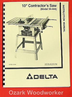 "DELTA 10"" Contractor's Table Saw 34-444 Instructions & Parts Manual 0829"