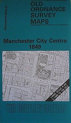 Old Ordnance Maps Manchester City Centre 1849 Large Scale Yard to Mile Godfrey