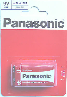 2 Panasonic Zinc Carbon PP3 (MN1604) 9 Volt Batteries