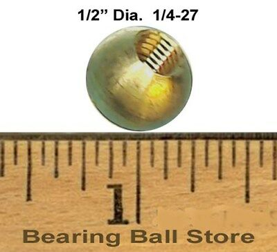 """147 1/2"""" dia. threaded 1/4-27 brass balls drilled tapped"""
