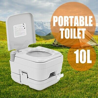10L Portable Toilet Travel Outdoor Caravan Boating 50 Flushes Camping Potty Gray
