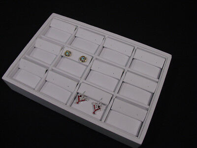 "New! 12 SECTION 9""L x 6""W WHITE LEATHERETTE EARRING TRAY DISPLAY CASE TPE12W"