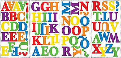 alphabet letters wall stickers 73 colorful decals school room decor nursery