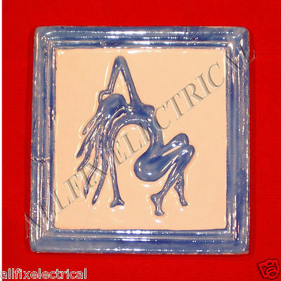 Hand Made & Painted Ceramic Art Tile - Woman Dancing - Made in Cairo, Egypt