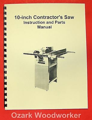 "JET/Asian JTS-10 10"" Contractor Table Saw Operator's & Parts Manual 0381"
