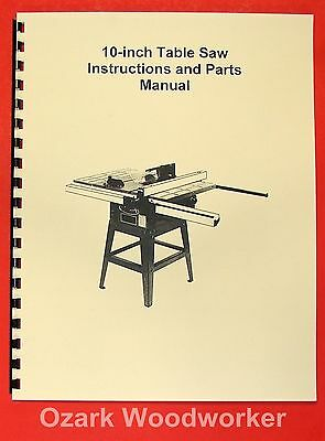 "JET/Asian JTS-10JF 10"" Contractor Table Saw Operator's & Parts Manual 0382"