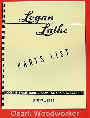 "LOGAN 1917 1922 11""  Lathe Parts Manual 0456"