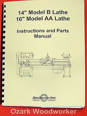 "REED PRENTICE Metal Lathe 14"" B, 16"" AA Owner's Manual 0573"