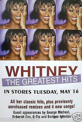 """Whitney Houston """"the Greatest Hits"""" U.s. Promo Poster Hung Up Around L.a."""