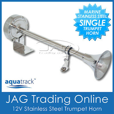 12V 390mm STAINLESS STEEL SINGLE TRUMPET ELECTRIC HORN - MARINE/BOAT/TRUCK/CAR