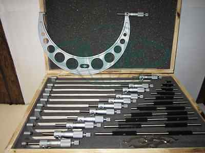 "0-12"" Precision outside micrometer set 0.0001"" carbide standards 12pcs/set--new"
