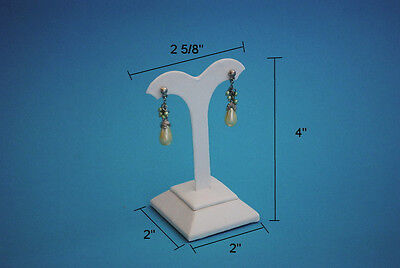 """4""""h High White Leatherette Earring Jewelry Display Top Case Stand Rd16W1"""