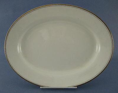 J & G Meakin Oval Platter Off White Gold Trim England AS IS