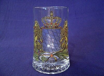 Bayern Beer Stein Mug Domex Glass Crest With Lions Made In Germany Sticker