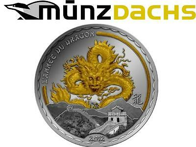 1000 Francs Lunar Year of the Dragon Cameroon Silver 2012 gilded Gold only 888