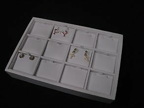 """New!12 SECTION 9""""L x 6""""W WHITE LEATHERETTE PENDANT EARRING DISPLAY TRAY CASETE9W"""