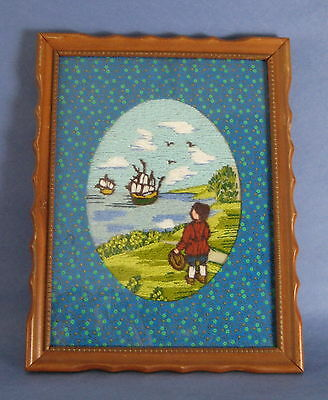 Completed Crewel Embroidery Tapestry Picture Boy Child Ships Boats Sea Framed