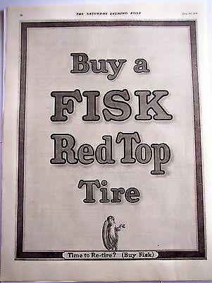 1916 original vintage AD Buy a Fisk Red Top Tire
