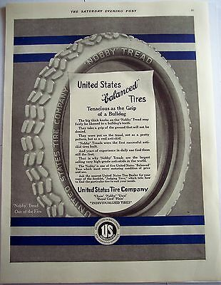 1916 Original vintage Ad United States Tires w/ 'Nobby' Treads