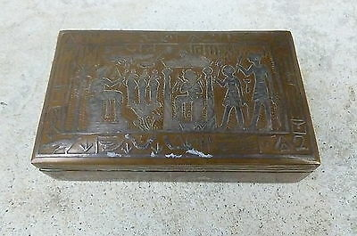 1920's Egyptian Revival Silver Over Bronze Trinket Box W Wood Interior