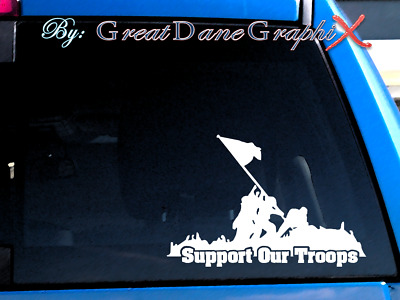Support Our Troops Iwo Jima Image -Vinyl Car Decal Sticker / Choose Color-HI QTY