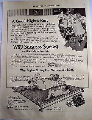 1916 Way Sagless Spring bedspring original vintage ad